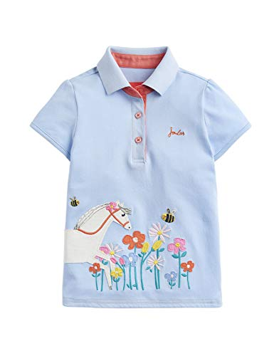 Joules Moxie Poloshirt mit Applikation, Motiv: blaue Pferdeblumen Gr. 98, blau