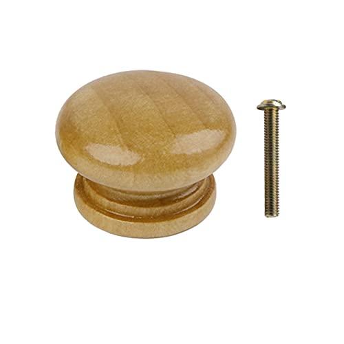 24/27 / 32mm Reemplazo de perillas de armario de cajones de madera natural Manijas Tirador de puerta de armario Cajón de cocina Herrajes para muebles, Barnizado, 24mm, 50PCS