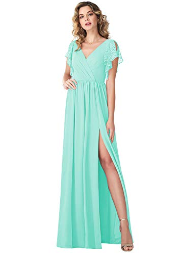YORFORMALS Women's Pleated Chiffon Bridesmaid Dress with Slit Long V-Neck Short Sleeve Formal Prom Gown Size 16 Tiffany Blue