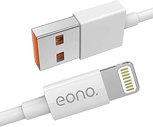 Amazon Brand - Eono Cavo per iPhone USB Lightning 1M - [Certificato Apple MFi] Cavo di Rapida Caricabatterie per iPhone 12 Pro Mini Pro Max 11 Pro Max Xs XR 8 7 6s 6 Plus SE 5 5s 5c - Originale Bianco