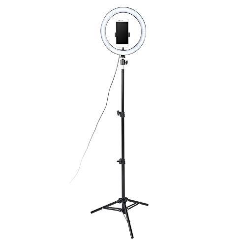 Nicoone 10 Pulgadas Cc 5V Dimmable LED Anillo de Luz de Relleno USB Cámara de Vídeo Lámpara con 1 2 M Trípode Teléfono Clip Set