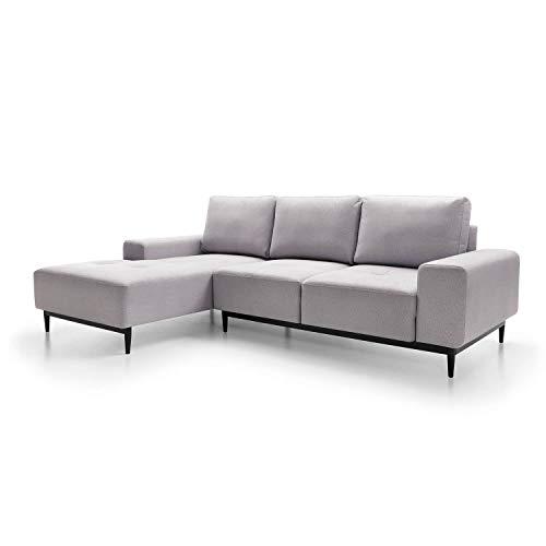 mokebo® Ecksofa aus Webstoff 'Die Leichtfüßige', modernes 3-Sitzer Sofa & Schlafsofa mit Bettkasten, Weboptik in Platingrau