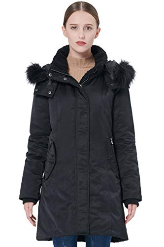 Orolay Women's Down Jacket with Removable Hood Winter Down Coat Black 2XL