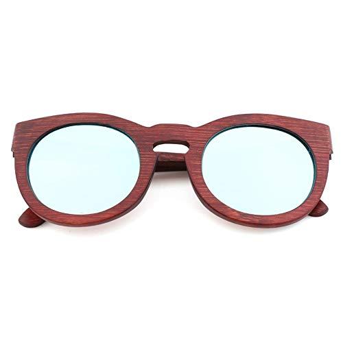 GTYHJUIK vrouwen mode gepolariseerde zonnebril persoonlijkheid ronde houten frame kleur schaduw spiegel Glare UV-bestendige bril