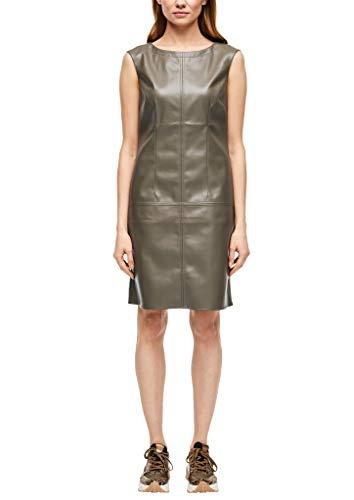 s.Oliver BLACK LABEL Damen Kleid aus Lederimitat dark olive 40