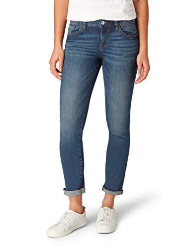 TOM TAILOR Damen Jeanshosen Alexa Slim Jeans  Dark Stone wash Denim,28/32