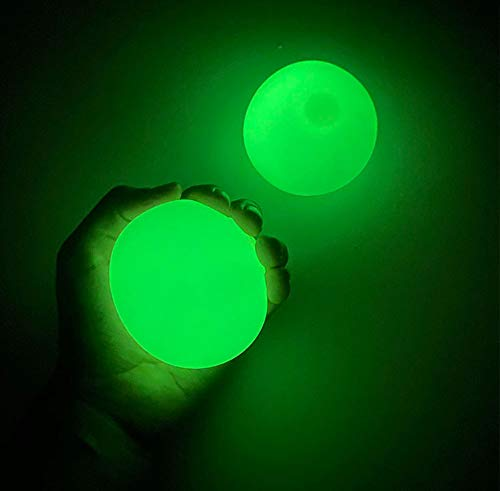 """EYIIYE 4Pcs Ceiling Sticky Balls Decompress Stress Relief Balls Luminescent Squeeze Vent Ball Fluorescence Goo Ball Fun Toy for Kids and Adults (Style #B-Fluorescence, 2.6"""")"""