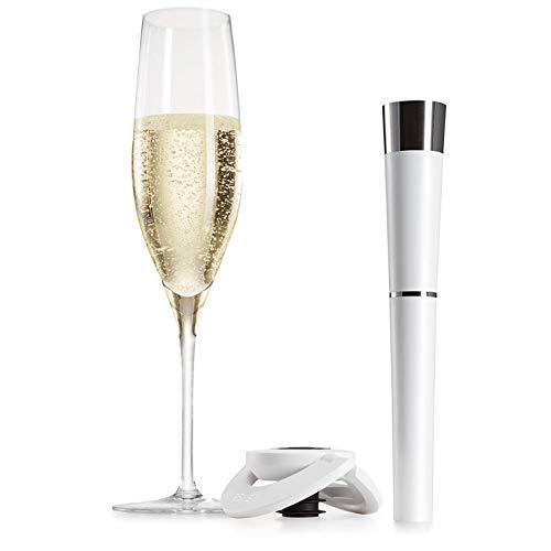 Sektflaschenverschluss System mit Argon Gas und CO2 von zzysh – damit Champagner und Sekt auch nach dem Öffnen lange frisch und prickelnd bleiben.