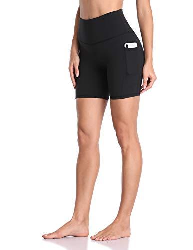 Colorfulkoala Damen Yoga-Shorts mit hoher Taille, mit Taschen, 15,2 cm Schrittlänge, Workout, Biker-Shorts - Schwarz - Mittel