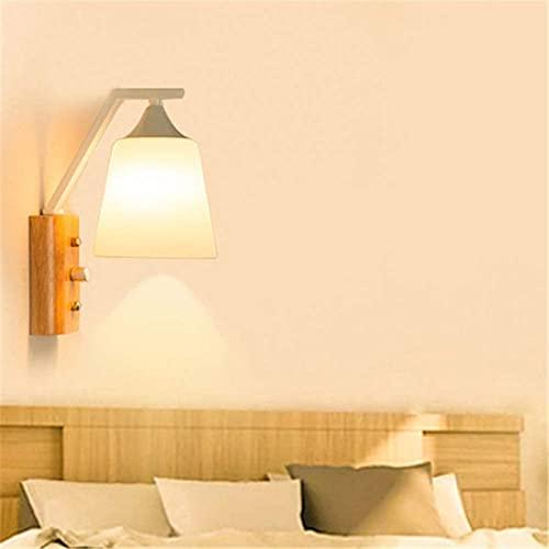 JeeKoudy Lámpara de Pared Industrial de Madera Maciza E27 Luz de Pared Retro Interior Decoración de Madera Creativa Iluminación Lámparas de Pared Accesorio Pantalla de Cristal para Vivir