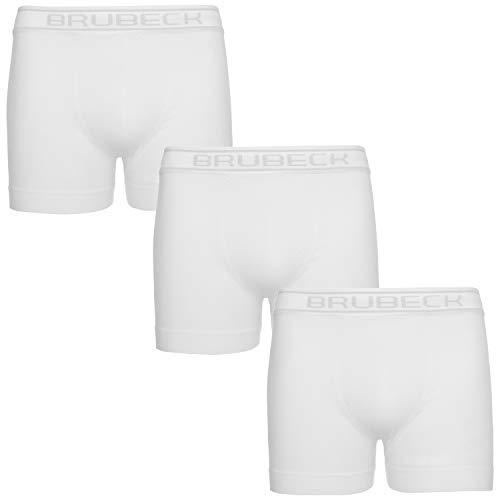 BRUBECK Herren 3er Pack Retroshorts weiß   Unterhose Alltag   weiße Unterwäsche Freizeit für Männer   80% Baumwolle Retropants   Trunks atmungsaktiv nahtlos   Gr. L, White   BX00501A