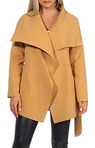 Malito 3041 krótki płaszcz, kurtka, trencz, budrysówka, damski, wodospad, flausz, jeden rozmiar