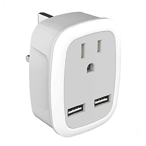 Adaptador de enchufe de los Estados Unidos a Reino Unido Viajes 100-250V Adaptador de enchufe con indicador LED dual puertos USB, interruptor,