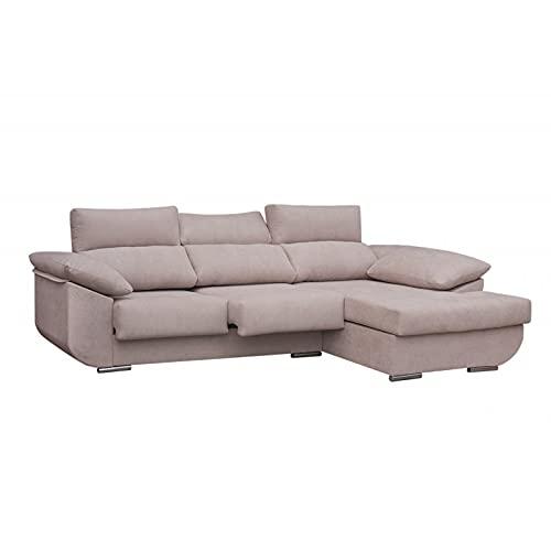 SHIITO - Sofá con Chaise Longue Derecha de Tres plazas Modelo MASERATTI. Tela Color Crudo.
