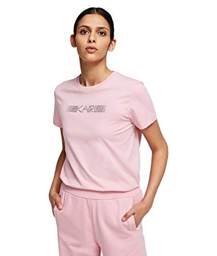 KARL LAGERFELD Womens Rhinestone Logo T-Shirt, Pink, L