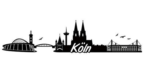 Samunshi® Köln Skyline Aufkleber Sticker Autoaufkleber City Gedruckt in 7 Größen (20x4,8cm schwarz)