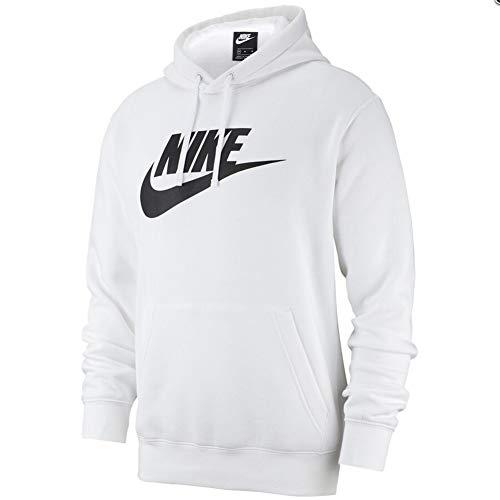 Nike Sportswear Club Fleece, Felpa Pullover con Cappuccio e Grafica Uomo, WhiteBlack, S