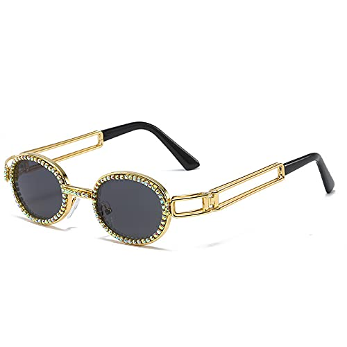 FENGHUAN Gafas de solgóticas redondas delujo vintage paramujer, hombre, espejo de diamante, gafas de sol punk de moda de viaje, negro