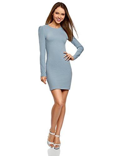 oodji Ultra Damen Enges Baumwoll-Kleid, Blau, DE 36 / EU 38 / S