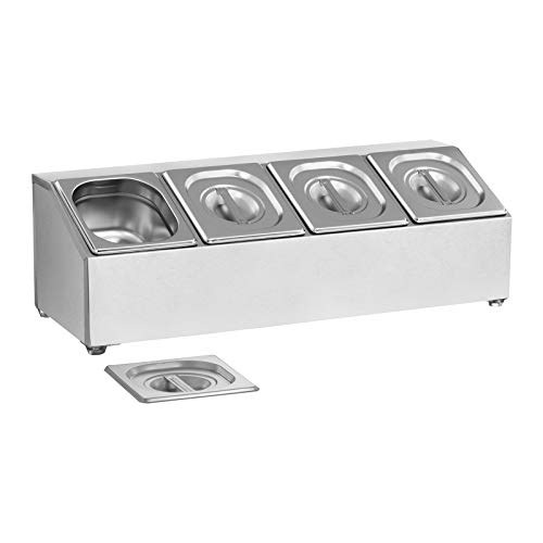 Royal Catering GN-Aufsatzbord Gastronorm-Behälter Gestell RCPN 4 (Edelstahl, Spülmaschinenfest, inkl. 4 GN 1/6 Behälter mit 4 passenden Deckeln)