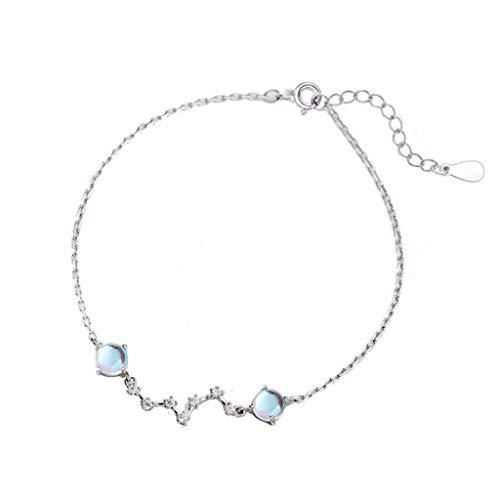 hongbanlemp Pulseras para mujer, pulsera de piedra lunar, plata de ley 925, joyería de moda, aniversario, dama de honor, pulsera de regalo de boda, joyería