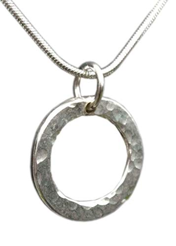 Handmade for Women 925 Sterling Silver Hammered Circle Necklace - Gift Wrapped