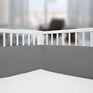 Crib Bumper Pads, Cotton Breathable Crib Bumper, Baby Crib Bumper Safe for Baby 4 Piece/Dark Grey