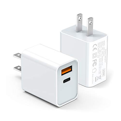 iPhone 12 Charger【Apple MFi Certified】 2-Pack 20W Dual-Port Wall Charger Plug, PD with QC 3.0 Fast Charger, Type USB C Charger for iPhone 12/ Mini/ Pro Max/11/11 Pro Max/Galaxy/Pixel and More (White)
