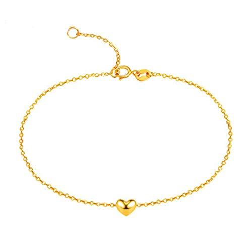 KnSam 18K Oro Amarillo Pulsera, Brazalete Corazón, Color Oro, Regalo para Amantes, Amarillo Oro