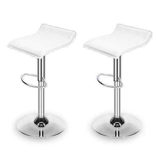 Kjghj, set di 2 sgabelli da bar in pelle PU con sedia a gas, sedie da cucina e bancone altezza con bracciolo poggiapiedi, sedia da bar (colore viola profondo)