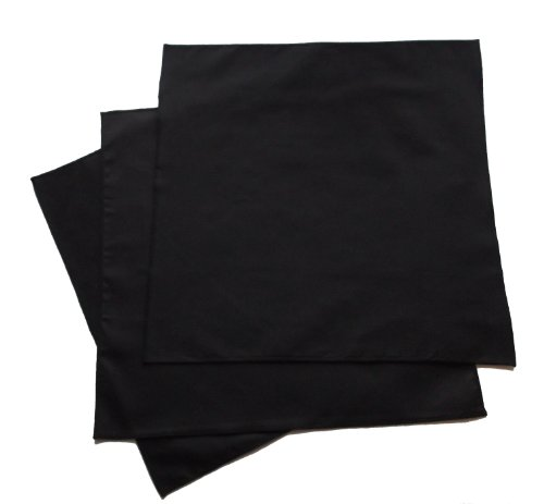 Organic Handkerchiefs Co, Men's Black Bandannas 22 inch Organic Cotton Pack of 3