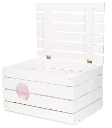 Moooble 1x Holzkiste weiß mit Deckel und kreisförmigen Einstieg | 50x40x30 cm | Katzentruhe, Katzenhöhle mit Luftschlitzen, inklusive Kissen