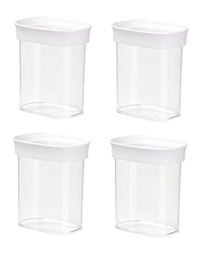 Emsa 4er Set Stapelbare Vorratsdose für Trockenvorräte, Volumen 0.38 Liter, Rechteckig, Weiß/Transparent, Optima 513555 x 4