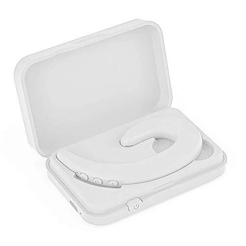 骨伝導イヤホン ワイヤレスイヤホン Bluetooth 5.0 ヘッドセット 収納ケース付き 片耳 高音質 左右兼用 耳掛け型 ブルートゥースイヤホン スポーツ マイク内蔵 iPhone/Android対応 在宅勤務用 (ホワイト)