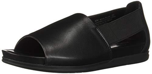 Aerosoles Damen-Slipper, flach, offene Zehen, mit Memory-Schaum-Fußbett, Schwarz (schwarzes Leder), 36 EU