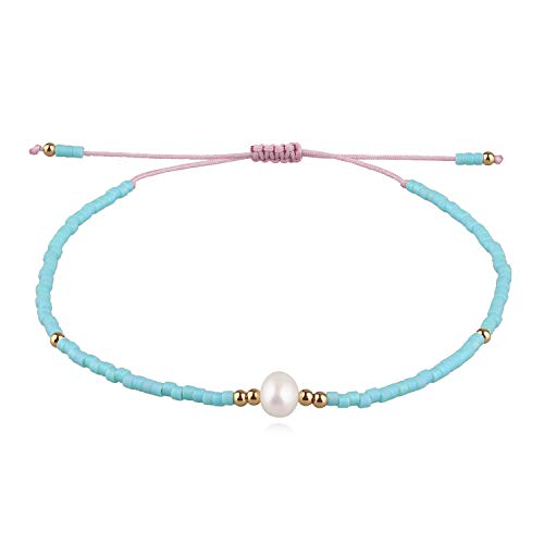 KELITCH Neu Miyuki Wulstig Armbänder Boho Strang Armbänder Armreifen Frau Mischen Perle Armbänder Zum Sommer - Blau