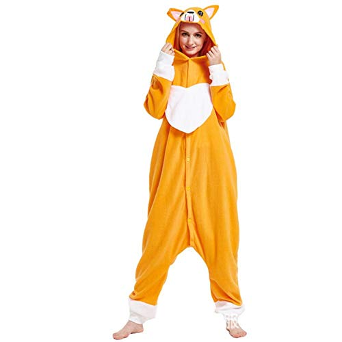 FZH Schlafanzug Kigurumi Adult Cute Corgi Hundepyjamas Onesies Cosplay Kostüme Unisex Nachtwäsche Party Fashion One Piece Pyjamas-Corgi Hund_M.