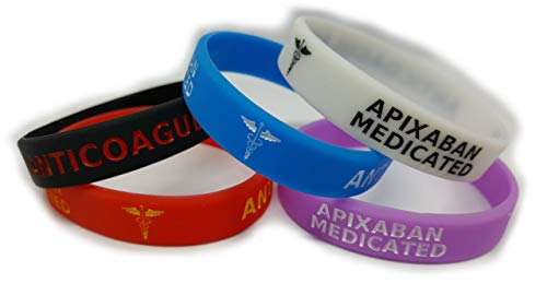 5X APIXABAN Medicated Wristband Medical Awareness Alert Bracelet Glow in The Dark, Red, Black, Purple, Blue, Anticoagulant … (Small 180mm/7inch Circumference)