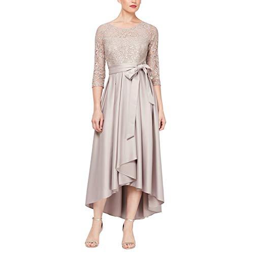 Ignite Evenings Damen Long Sleeve Sequin Lace Hilo Mikado Skirt Gown Kleid für besondere Anlässe, beige, 40