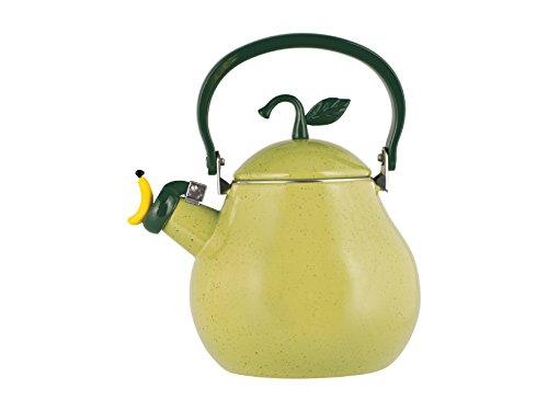 H&H Bollitore Smalto Pear Lt2,5 Preparazione Colazione Arredo Tavola, Acciaio Inossidabile, Verde, 2.5 Litri