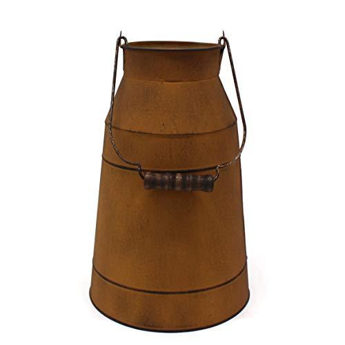 CVHOMEDECO. Jarra de leche oxidada de 10 pulgadas con mango de madera, jarrón rústico de granja para decoración de hogar y jardín.