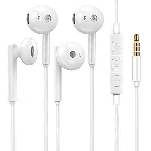 iPhone Earbuds,Wired Headphones with Microphone,2 Pack Noise Isolating High Definition Stereo 3.5mm Jack in-Ear Earphones Compatible with iPhone 6s/6 Plus/SE and Android Smartphones, iPod, iPad, MP3