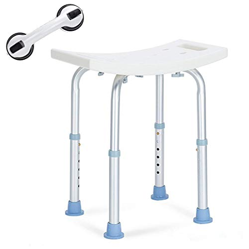OasisSpace Shower Chair, Adjustable Bath Stool with Free Assist Grab Bar - Medical Tool Free Anti-Slip Bench Bathtub Stool Seat with Durable Aluminum Legs for Elderly, Senior, Handicap & Disabled