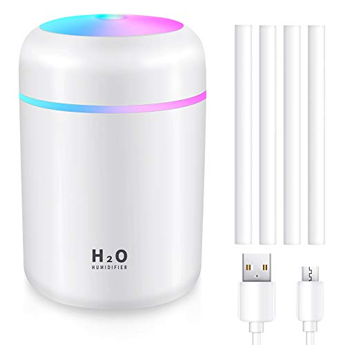 Portable Mini Mist Humidifier USB Cool Mist Humidifier with Colorful LED Night Light Quiet Personal Humidifier Diffuser with 4 Pieces Replaceable Filter for Bedroom Home Office Car (White)