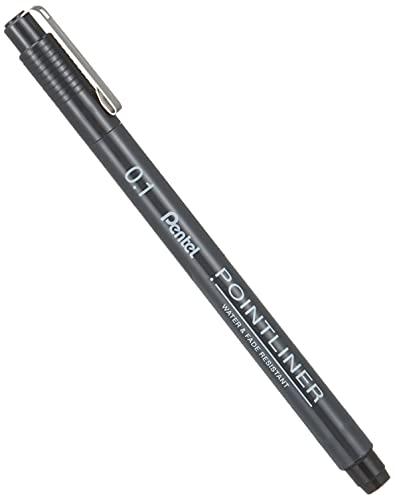 Pentel Pointliner S20P-1A, Fineliner, schwarz, wasserfest und lichtecht, 0,1 mm