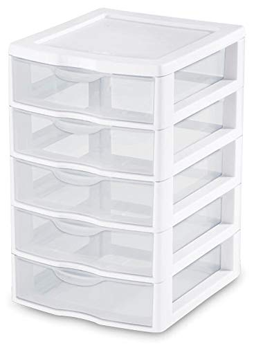 1) New Sterilite 20758004 Clearview Small 5 Drawer Desktop Storage Unit White