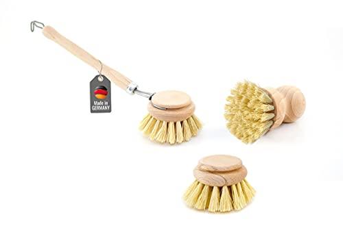 """Lantelme, 6430, spazzola lavapiatti con testina di ricambio e spazzolino per le pentole, set da 3pezzi.Set di spazzole di legno per lavare le stoviglie, realizzate con vero tampico e vera """"Union""""."""
