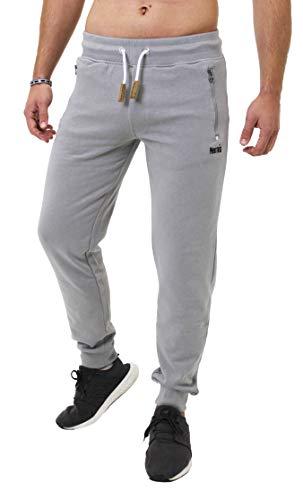 Mount Swiss Lange Freizeithose Herren Finn I Sweatpants mit Taschen I Laufhose mit Seitentasche + Gesäßtasche mit Reißverschluß Männer in Farbe grau, Gr. L