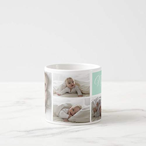 Monogramm Pastell Mint personalisierbar Foto & Name Espressotasse Keramik Kaffeetasse lustig Kaffeetasse 325 ml + Gratis Geschenkbox