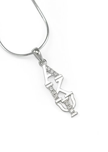 The Collegiate Standard Alpha Kappa Psi Sterling Silver Lavaliere Pendant with Simulated Diamonds AKPsi
